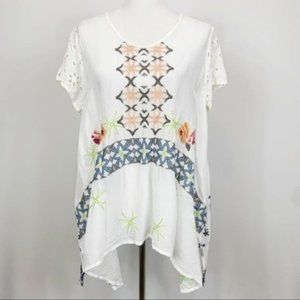 Johnny Was Draped White Embroidered Cupra Blouse M